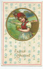 Easter Basket Eggs Pretty Girl Gold Details Embossed Vintage Postcard
