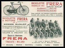 PUBBLICITA' 1911 FRERA BICICLETTA A MOTORE 2HP REGIO ESERCITO BERSAGLIERE DIVISA