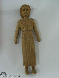 Original Vintage Folk Art Carved Wooden Woman