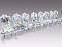 Fantastic Set of 8 Beautiful Art Deco Designer Louis XVI style dining chairs