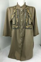 Johnny Was Womens Brown Boho Southwestern Embroidered Beaded Tunic Top Small