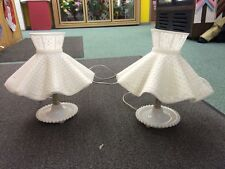 Vintage white milk glass table Lamp Mid Century bedside accent retro shabby chic
