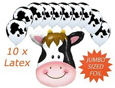 Cow Farm Animal Jumbo Helium Foil & 10 Latex Balloon Western Party Decoration
