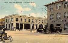 Twin Falls Idaho Corner Main Shoshone Street View Antique Postcard K47463