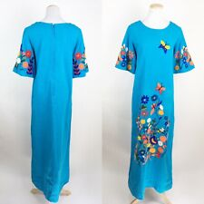VTG Hand Embroidered Mexican Souvenir Maxi Dress LARGE Floral Butterfly Boho