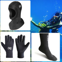 3mm Neoprene Scuba Diving Snorkeling Neck Hat Full Face Cap/Gloves/Socks