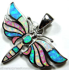 Multicolor, Blue,White & Pink Fire Opal 925 Sterling Silver Dragonfly Pendant