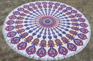 Indian Bohemian Fish Mandala Beach Throw Towel Round Yoga Mat Table Cover
