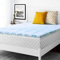 4 Inch Blue Swirl Gel Memory Foam Mattress Topper Egg High Density Air Flow Soft