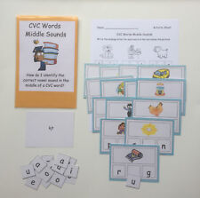 Teacher Made Literacy Center Resource Educational Game CVC Words Middle Sounds