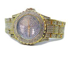 Oro Plateado Completamente Iced Imitación Diamante Bisel HipHop Bling Reloj