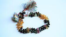 Multi color tourmaline teardrop beads. Genuine faceted tourmaline beads. 8'