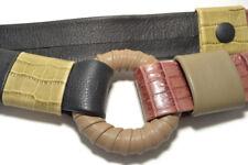 HANS KOCH SOHO Womens Vtg Multi C Croc Leather Belt Handmade Boutique Boho Indie