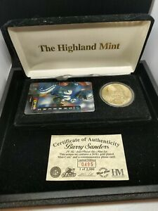Barry Sanders Highland Mint 24KT Gold Plated Coin & Phone Card Set 495/2500