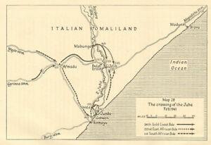 Crossing River Juba Feb 1941 Kismayo Italian Somaliland Somalia. Sketch map 1954