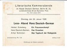 Einladungskarte Berlin Schöneberg Landshuter Straße Hans Deutsch-German Judaica?
