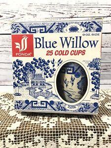 Fonda Blue Willow Vintage 14 Waxed Paper Cold Cups 9 oz Original Open Box