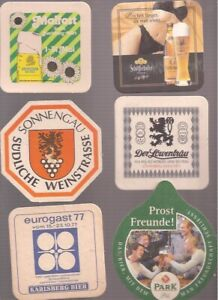 lot of 6 different beer coasters