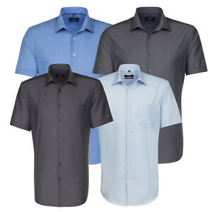 Seidensticker Herrenhemd Herren Business Kurzarm Kent Sommer Hemd blau grau