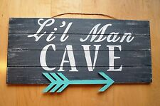 Lil Man Cave Wood Sign Tribal 3D Arrow Nursery Boys Wall Decor Distressed Gift!!