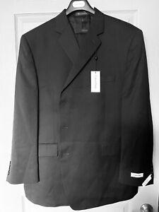 *NEW* Calvin Klein Men's 2-Piece Black 100% Wool Suit; $450.00; Size 52R, 48W