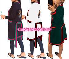 USA Women Fashion Long Sleeve Sequined Tiger Head  Open Stitch Cloak Surcoat (A)