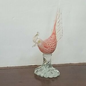 Mid-Century Florentine Original Venetian Glass Pheasant Bird Alfredo Barbini