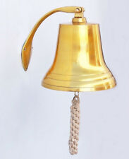 "Brass Plated Cast Aluminum Ship's Bell 9.5"" Nautical Hanging Wall Decor New"