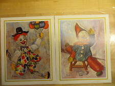 Vintage Lot of 2 Clown Lithograph Prints Signed Michele 1960's 8X10