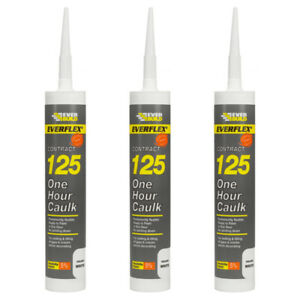 3 x Everflex Contract 125 One Hour Caulk Filler Sealant 300ml Can be Overpainted