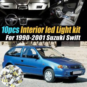 10Pc Super White Car Interior LED Light Bulb Kit for 1990-2001 Suzuki Swift