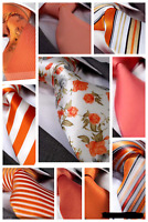 ORANGE / PEACH / CORAL SILK TIE - Italian Designer Milano Exclusive
