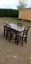 Dark Oak Dining Table Solid Wood 4 Chairs Vintage Antique Ercol Colonial Type