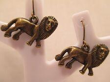 earrings lion leo birth sign antique gold bronze tone dangle hook