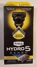 New SCHICK HYDRO 5 SENSE Energize Razor Handle w/ 2 Cartridges