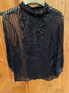 Stunning Ladies Antik Batik Sheer Black beaded sleeve top Size L (approx 12)