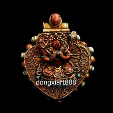 Tibet Silver inlay coral niche for Buddha Four arms guanyin Necklaces & Pendants