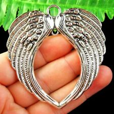 Carved Tibetan silver Wing Pendant Bead 66x64x3mm L35300