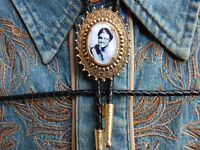 NEW ELVIS PRESLEY  BOLO BOOTLACE TIE LEATHER CORD GOLD METAL  WESTERN WEDDING