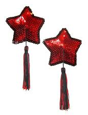 Red Star Burlesque Black Tassel Sequin Pasties Covers Christmas Valentines 0568