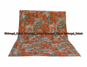 Paisley Print Kantha Quilt Cotton Vintage Blanket Bedspread Bed Sofa Cover Quilt