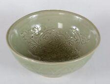 Old Chinese Carved Porcelain Celadon Glaze Bowl