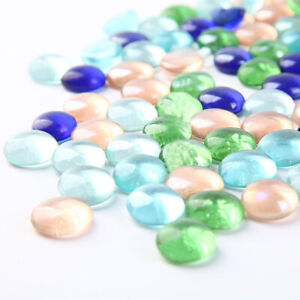 Mixed Color Glass Gems Pebbles Stones Flat Marbles for Vase Accents and Crafting