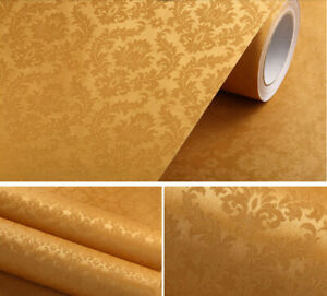 Golden Flower Wallpaper Vintage Peel and Stick Contact Paper Self Adhesive D33