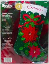 "Bucilla Felt Elegant Poinsettia18"" Christmas Stocking Kit #85105 Ribbon Flower"