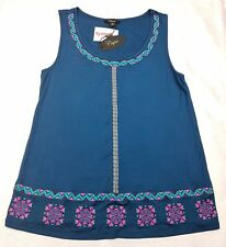 Cupio Womens Tank Top Size S Style MX21643 Embroidered designs Teal