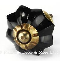 Cabinet Hardware Antique Brass, Drawer Knobs Black or Glass Dresser Pull #K179RL