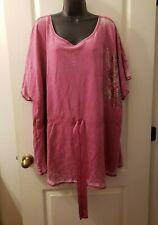 Fashion Bug Sz 4X Faded Pink Short Sleeve Hip Length Blouse K3