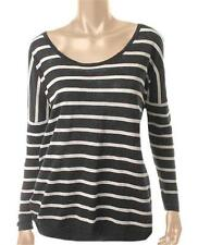 Sz S Victoria's Secret Black/White Cotton On-or-Off-the-Shoulder Sweater NWD $49
