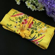 Chinese SILK JEWELRY TRAVEL BAG Roll Case Pouch Brocade Bright bag Fabric NEW